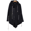 Big Hood Dark Incense Overlong Extended Essentials Asymmetric Zipped Fishtail Hoodie